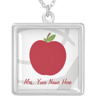 Red Apple Personalized Teacher Silver Plated Necklace