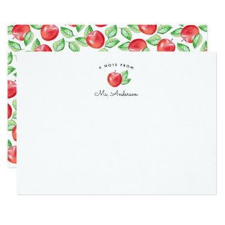 Red Apple | Personalized Teacher Stationery Flat Card