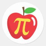 Red apple pie pi symbol round stickers