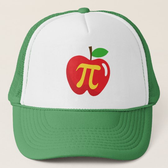 Red apple pie pi symbol trucker hat
