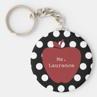 Red Apple & Polka Dot Teacher Key Ring