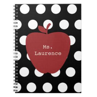 Red Apple & Polka Dot Teacher Spiral Note Book