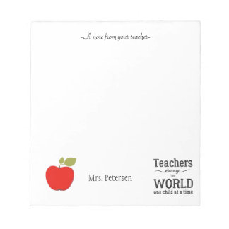 Red apple quote and your text teacher notepad