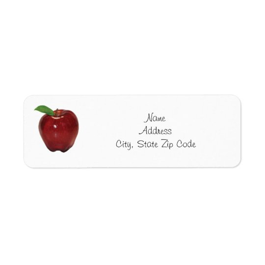 Red Apple Return Address Label