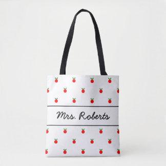 Red apple school teacher tote bag with custom name