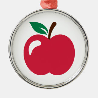 Red apple Silver-Colored round decoration