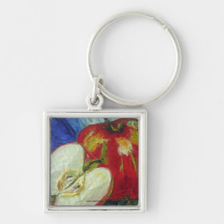 Red Apple Silver-Colored Square Key Ring