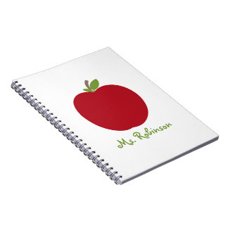 Red Apple Spiral Notebook For Teachers