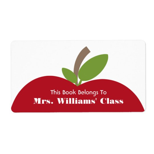 Red Apple Teacher Bookplate For Classroom Shipping Label