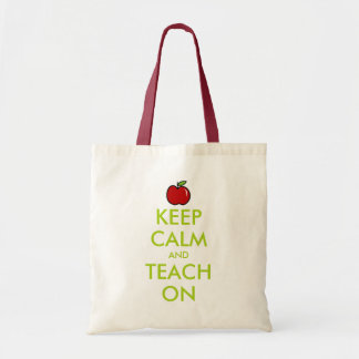 Red apple teacher tote bag | Keep Calm and teach
