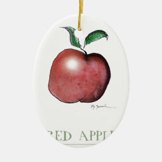 red apple, tony fernandes ceramic oval decoration