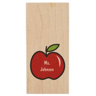 Red apple USB pen flash drive for teacher Wood USB 2.0 Flash Drive