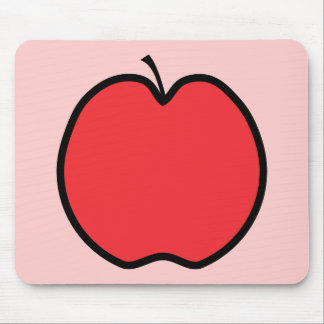 Red Apple with a Black Outline. Mouse Pad