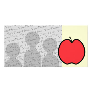 Red Apple with a Black Outline. Photo Card Template