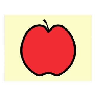 Red Apple with a Black Outline. Postcard