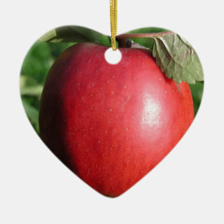 Red Apple with a Leaf Christmas Ornament