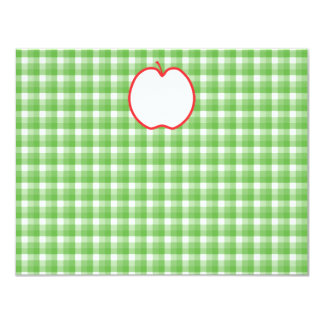Red Apple. With Green and White Check Background. 11 Cm X 14 Cm Invitation Card