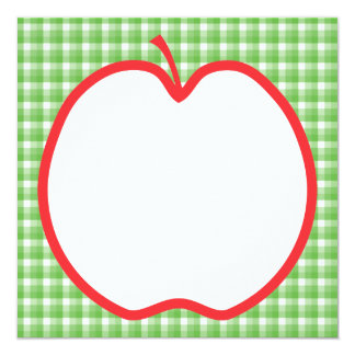 Red Apple. With Green and White Check Background. 13 Cm X 13 Cm Square Invitation Card