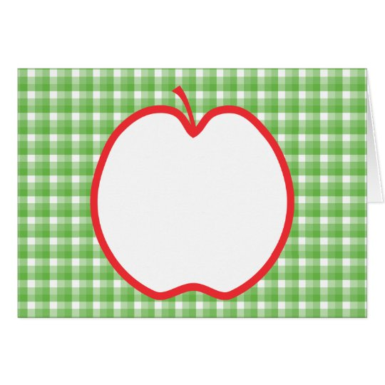Red Apple. With Green and White Check Background. Card