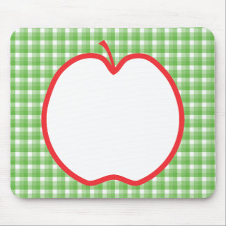 Red Apple. With Green and White Check Background. Mouse Pads