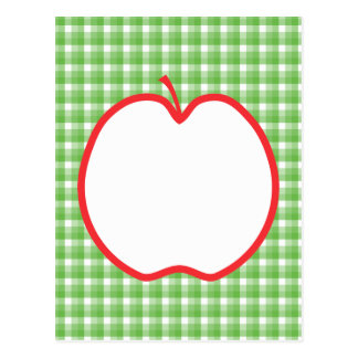 Red Apple. With Green and White Check Background. Postcard