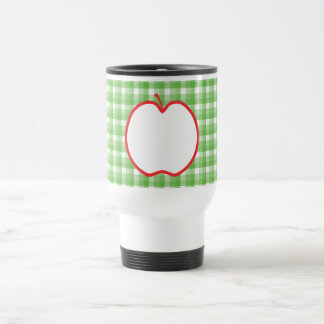 Red Apple. With Green and White Check Background. Travel Mug