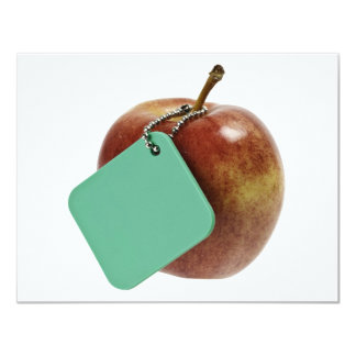 Red apple with green tag personalized invitation