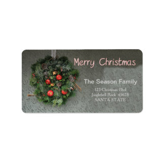 Red apple wreath  Merry Christmas  address label