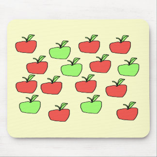 Red Apples and Green Apples Pattern on Cream Mouse Pad