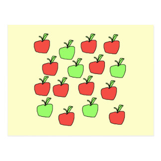Red Apples and Green Apples, Pattern, on Cream. Post Cards