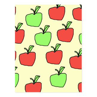 Red Apples and Green Apples Pattern. Postcard