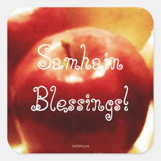 Red Apples Autumn Harvest Samhain Blessings (Lg.) Square Sticker