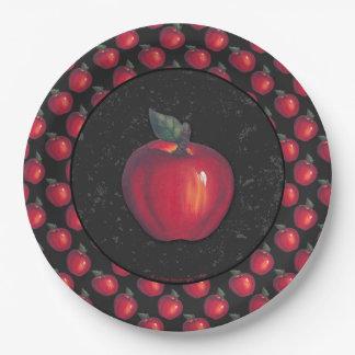 Red  Apples Black Border Paper Plate