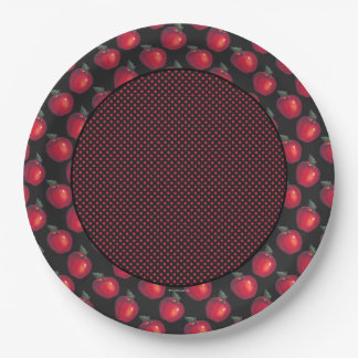 Red  Apples Black Border Red Dots Paper Plate