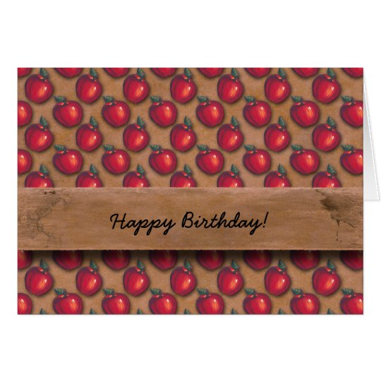 Red Apples Brown Card