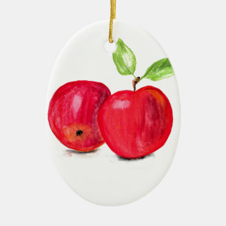Red apples fruity painting gardener gift christmas ornament