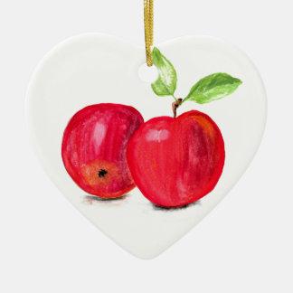 Red apples fruity painting gardener gift christmas ornament