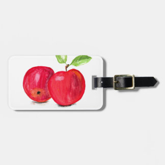 Red apples fruity painting gardener gift luggage tag