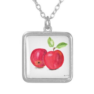 Red apples fruity painting gardener gift silver plated necklace