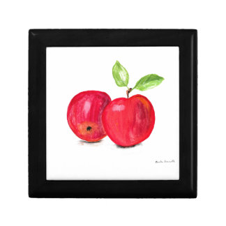 Red apples fruity painting gardener gift small square gift box