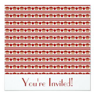 """Red Apples Invitation 5.25"""" Square Invitation Card"""