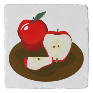 Red Apples Marble Stone Trivet