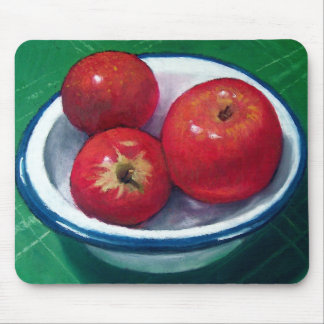 RED APPLES: OIL PASTEL ART MOUSE PAD