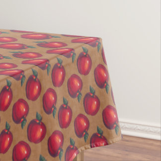 Red Apples on Brown Paper Tablecloth