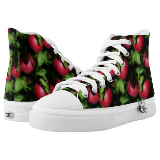 Red Apples On Tree Nature Pattern High Tops