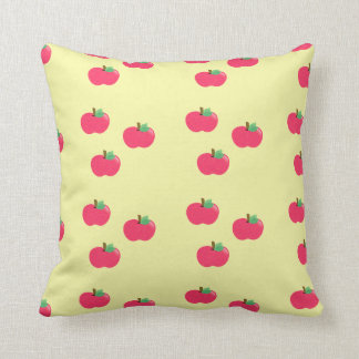 Red apples on yellow background cushion