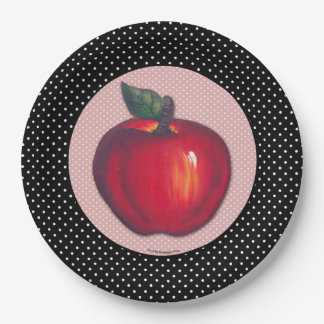Red Apples White on Black Polka Dots Border Paper Plate