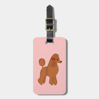 Red Apricot Poodle Light Pink Custom Luggage Tag