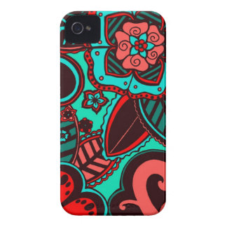 Red & Aqua Floral iPhone 4 Case-Mate Cases