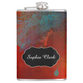 Red, Aqua & Gold Grunge Abstract Art, Personalized Hip Flask